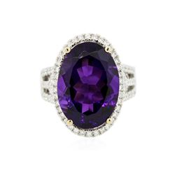 14KT White Gold 11.51 ctw Amethyst and Diamond Ring