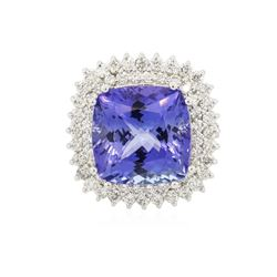 14KT White Gold GIA Certified 14.89 ctw Tanzanite and Diamond Ring