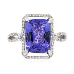 14KT White Gold 4.37 ctw Tanzanite and Diamond Ring