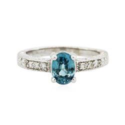 14KT White Gold 1.41 ctw Blue Zircon and Diamond Ring