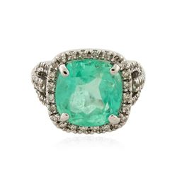 14KT White Gold GIA Certified 11.70 ctw Emerald and Diamond Ring
