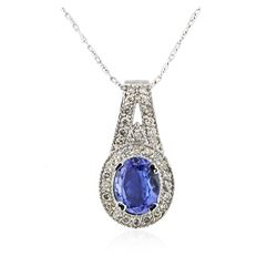 14KT White Gold 2.24 ctw Tanzanite and Diamond Pendant With Chain