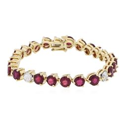 14KT Yellow Gold 18.27 ctw Ruby and Diamond Bracelet