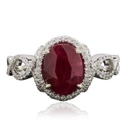 18KT White Gold 2.26 ctw Ruby and Diamond Ring