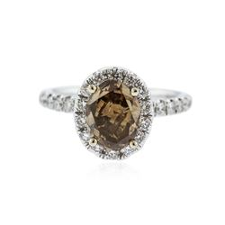18KT White Gold 2.82 ctw Fancy Brown Diamond Ring
