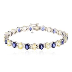 14KT White Gold 16.52 ctw Sapphire and Diamond Bracelet