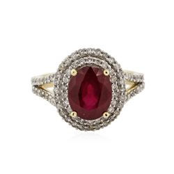 14KT Yellow Gold 4.01 ctw Ruby and Diamond Ring