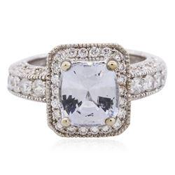 14KT White Gold 4.47 ctw Blue Zircon and Diamond Ring