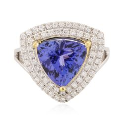 14KT Two-Tone Gold 4.61 ctw Tanzanite and Diamond Ring