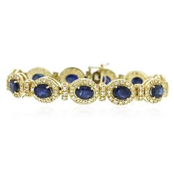 14KT Yellow Gold 17.82 ctw Sapphire and Diamond Bracelet
