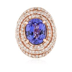 14KT Rose Gold 6.83 ctw Tanzanite and Diamond Ring