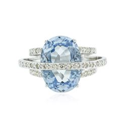 14KT White Gold 9.75 ctw Blue Topaz and Diamond Ring