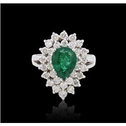18KT White Gold GIA Certified 1.50 ctw Emerald and Diamond Ring