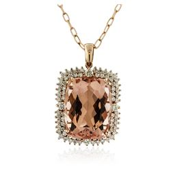 14KT Rose Gold 36.51 ctw Morganite and Diamond Pendant With Chain