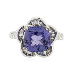 18KT White Gold 3.95 ctw Tazanite and Diamond Ring