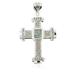 10KT White Gold 1.94 ctw Diamond Cross Pendant
