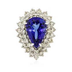 14KT White Gold GIA Certified 9.22 ctw Tanzanite and Diamond Ring