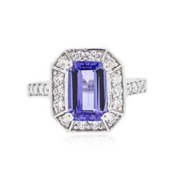 14KT White Gold 2.41 ctw Tanzanite and Diamond Ring
