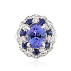 14KT White Gold 3.90 ctw Tanzanite, Sapphire and Diamond Ring