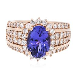 14KT Rose Gold 3.16 ctw Tanzanite and Diamond Ring