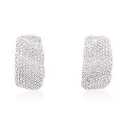 18KT White Gold 1.09 ctw Diamond Earrings