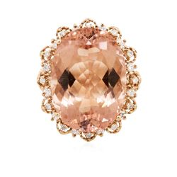14KT Rose Gold 24.00 ctw Morganite and Diamond Ring