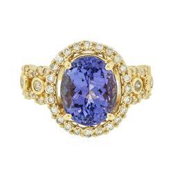 14KT Yellow Gold 3.79 ctw Tanzanite and Diamond Ring