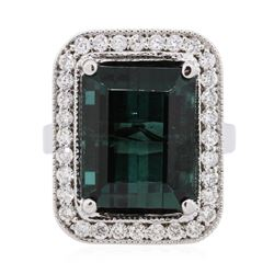 14KT White Gold 11.30 ctw Tourmaline and Diamond Ring