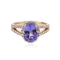14KT Rose Gold 2.33 ctw Tanzanite and Diamond Ring