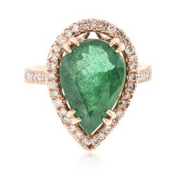 14KT Rose Gold 5.87 ctw Emerald and Diamond Ring