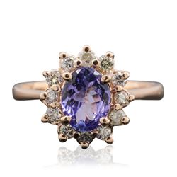 14KT Rose Gold 0.96 ctw Tanzanite and Diamond Ring