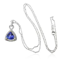 14KT Two-Tone Gold 2.72 ctw Tanzanite and Diamond Pendant With Chain