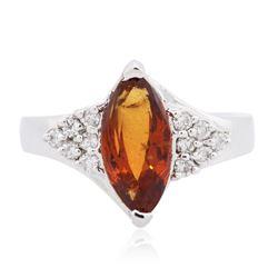 14KT White Gold 1.78 ctw Garnet and Diamond Ring