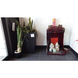 TWO FLOWER POTS WITH PLANTS AND WOODEN SHRINE WITH ORNAMENTS