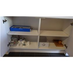 ALL CONTENTS INSIDE LOWER CABINET DOORS, MISC SAMPLERS, CUPS, PAPER PLATES, TEXTURE SPRAY, & MAKEUP