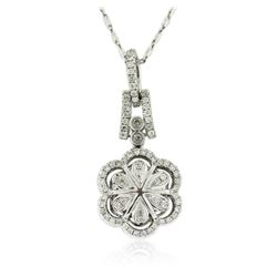 14KT White Gold 2.61 ctw Black Diamond Pendant With Chain