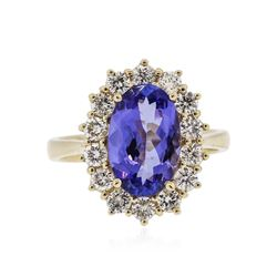 14KT Yellow Gold 2.67 ctw Tanzanite and Diamond Ring