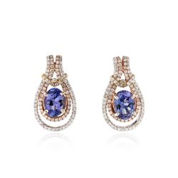 14KT Two-Tone Gold 2.38 ctw Tanzanite and Diamond Earrings