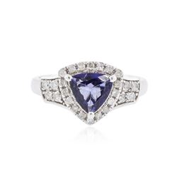 14KT White Gold 1.20 ctw Tanzanite and Diamond Ring