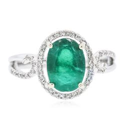 14KT White Gold 2.07 ctw Emerald and Diamond Ring