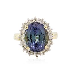 14KT White Gold 6.36 ctw Tanzanite and Diamond Ring