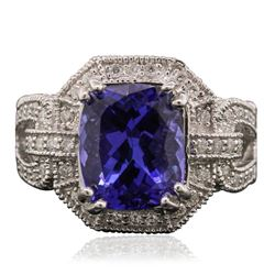 14KT White Gold 5.24 ctw Tanzanite and Diamond Ring