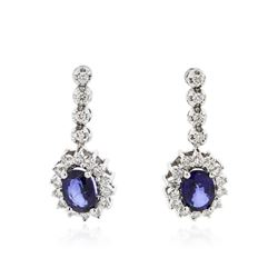 14KT White Gold 2.30 ctw Sapphire and Diamond Earrings