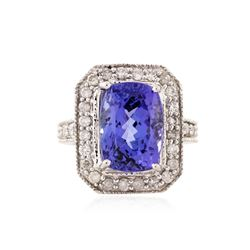 14KT White Gold 9.03 ctw Tanzanite and Diamond Ring