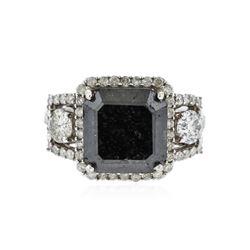 14KT White Gold GIA Certified 9.97 ctw Black Diamond Ring
