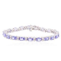 14KT White Gold 9.03 ctw Tanzanite and Diamond Bracelet