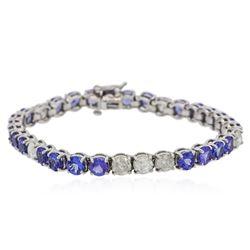 14KT White Gold 13.26 ctw Tanzanite and Diamond Bracelet