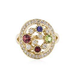 14KT Yellow Gold 0.75 ctw Multi Gemstone and Diamond Ring