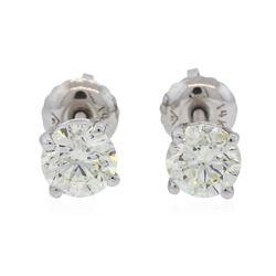 14KT White Gold 1.03 ctw Diamond Solitaire Earrings