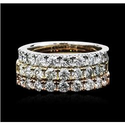 14KT Three-Tone Gold 2.17 ctw Diamond Rings